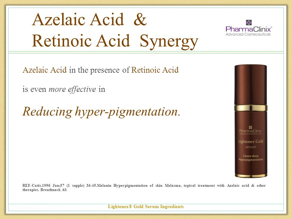 Azelaic Acid & Retinoic Acid Synergy Azelaic Acid in the presence of Retinoic Acid is even more effective in Reducing hyper-pigmentation. REF-Cutis.19