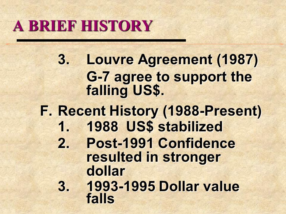 A BRIEF HISTORY 3.Louvre Agreement (1987) G-7 agree to support the falling US$.