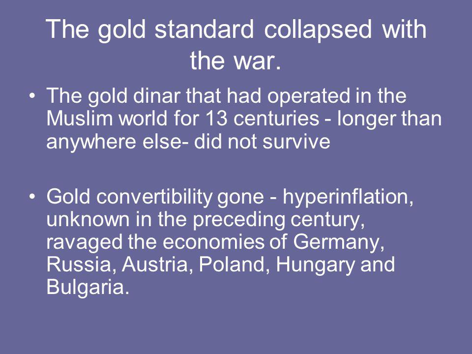 Depression followed inflation Inflation of the 1920s ended abruptly in the 1930s with the complete collapse of the global economy.