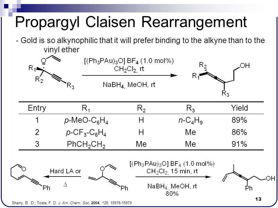 13 Propargyl Claisen Rearrangement - Gold is so alkynophilic that it will prefer binding to the alkyne than to the vinyl ether Sherry, B. D.; Toste, F