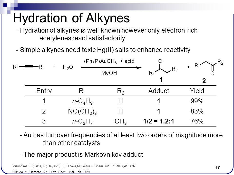 17 Hydration of Alkynes Mizushima, E.; Sata, K.; Hayashi, T., Tanaka,M.; Angew. Chem. Int. Ed. 2002,41, 4563 Fukuda, Y., Utimoto, K.; J. Org. Chem. 19