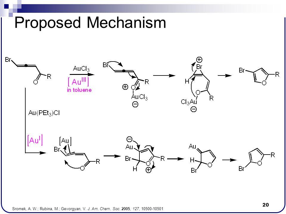20 Proposed Mechanism Sromek, A. W.; Rubina, M.; Gevorgyan, V. J. Am. Chem. Soc. 2005, 127, 10500-10501