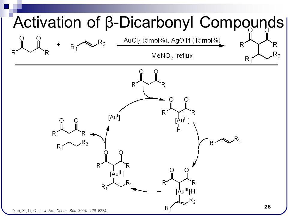 25 Activation of β-Dicarbonyl Compounds Yao, X.; Li, C. -J. J. Am. Chem. Soc. 2004, 126, 6884
