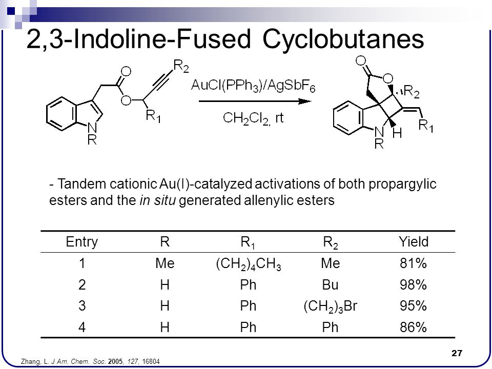 27 2,3-Indoline-Fused Cyclobutanes - Tandem cationic Au(I)-catalyzed activations of both propargylic esters and the in situ generated allenylic esters
