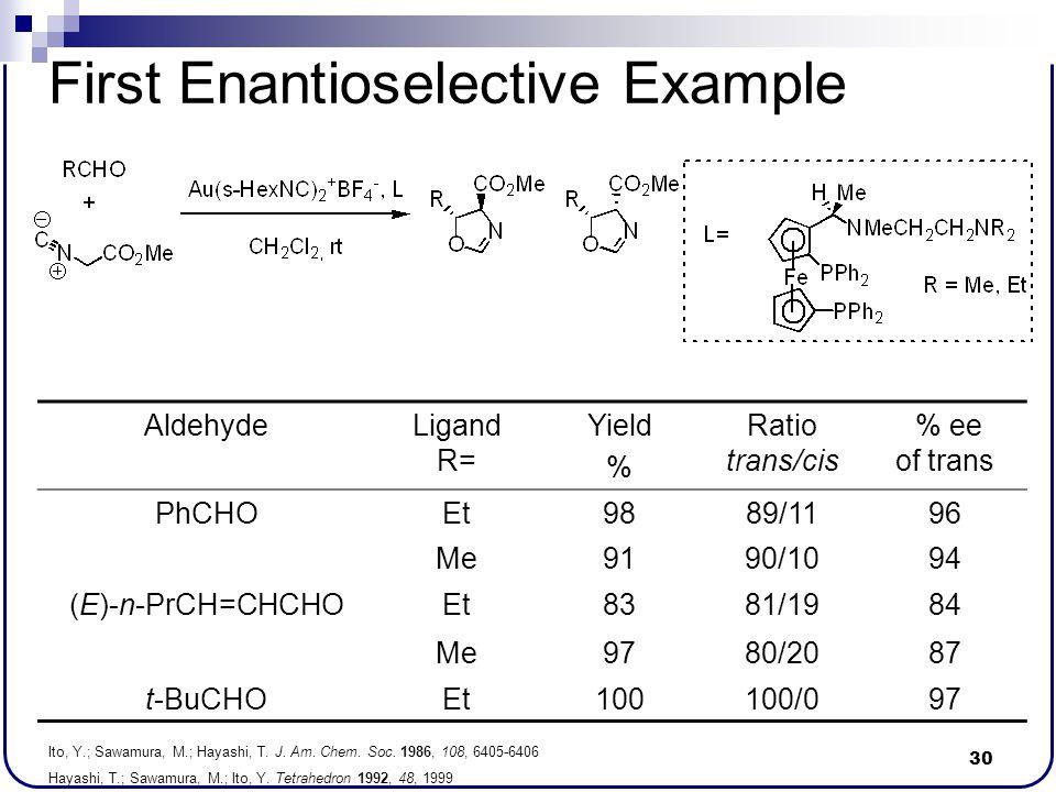 30 First Enantioselective Example Ito, Y.; Sawamura, M.; Hayashi, T. J. Am. Chem. Soc. 1986, 108, 6405-6406 Hayashi, T.; Sawamura, M.; Ito, Y. Tetrahe