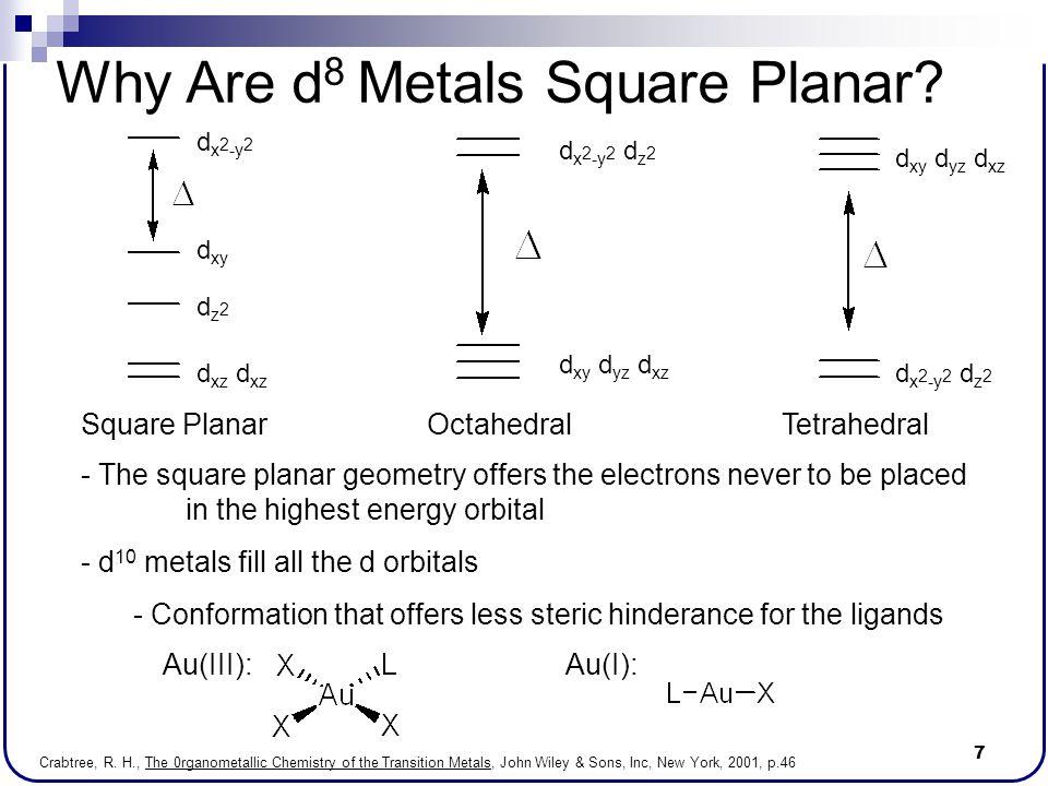 7 Why Are d 8 Metals Square Planar? d x 2 -y 2 d xy dz2dz2 d xz d xy d yz d xz d x 2 -y 2 d z 2 d xy d yz d xz Square PlanarOctahedralTetrahedral - Th