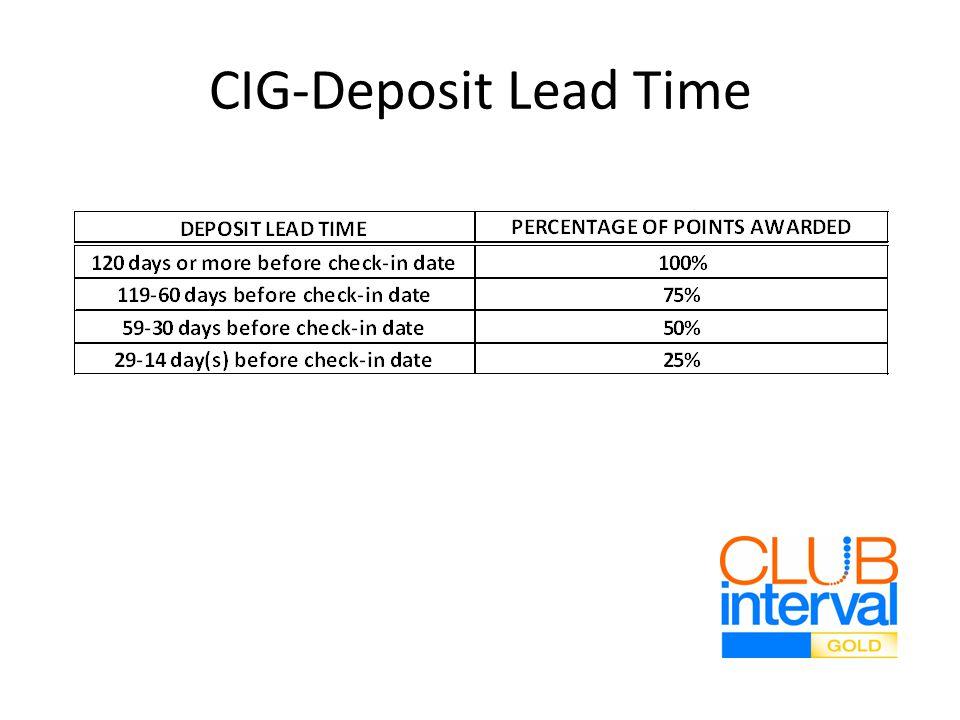 CIG-Deposit Lead Time