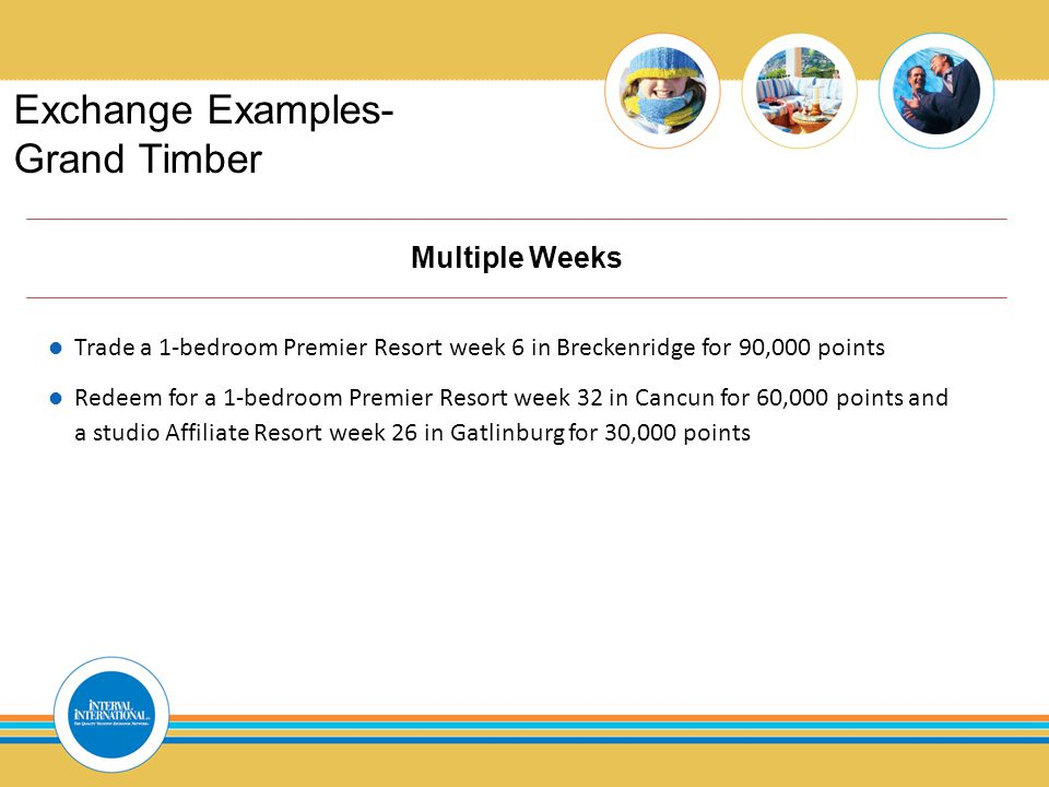 Exchange Examples- Grand Timber Multiple Weeks Trade a 1-bedroom Premier Resort week 6 in Breckenridge for 90,000 points Redeem for a 1-bedroom Premier Resort week 32 in Cancun for 60,000 points and a studio Affiliate Resort week 26 in Gatlinburg for 30,000 points