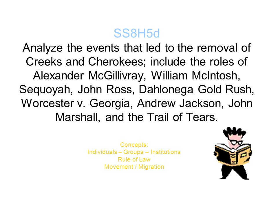 SS8H5d Analyze the events that led to the removal of Creeks and Cherokees; include the roles of Alexander McGillivray, William McIntosh, Sequoyah, Joh