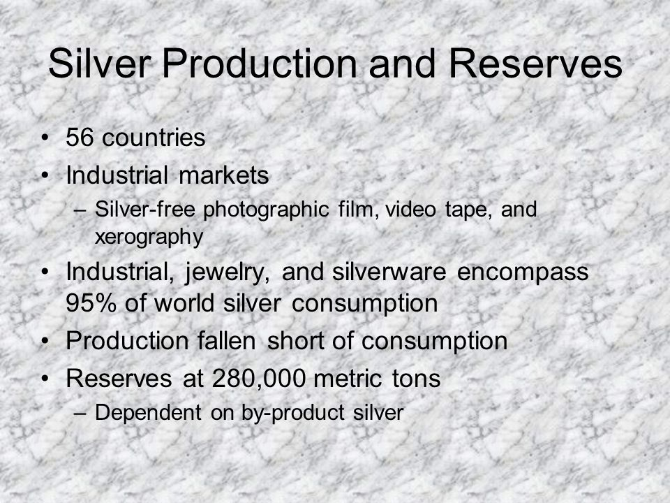 Silver Production and Reserves 56 countries Industrial markets –Silver-free photographic film, video tape, and xerography Industrial, jewelry, and silverware encompass 95% of world silver consumption Production fallen short of consumption Reserves at 280,000 metric tons –Dependent on by-product silver