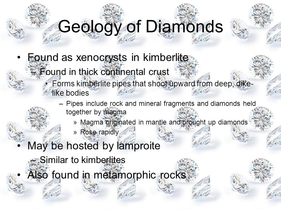 Geology of Diamonds Found as xenocrysts in kimberlite –Found in thick continental crust Forms kimberlite pipes that shoot upward from deep, dike- like bodies –Pipes include rock and mineral fragments and diamonds held together by magma »Magma originated in mantle and brought up diamonds »Rose rapidly May be hosted by lamproite –Similar to kimberlites Also found in metamorphic rocks