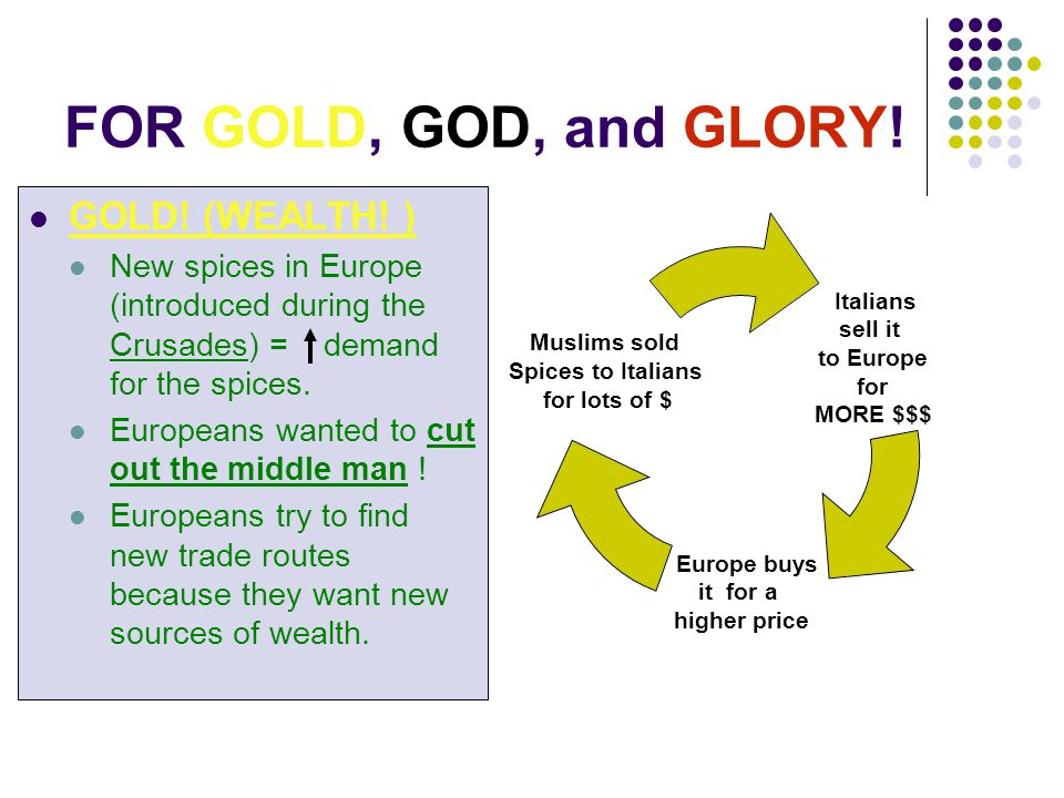 FOR GOLD, GOD, and GLORY! GOLD! (WEALTH! ) New spices in Europe (introduced during the Crusades) = demand for the spices. Europeans wanted to cut out