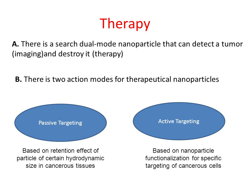 Therapy A. There is a search dual-mode nanoparticle that can detect a tumor (imaging)and destroy it (therapy) B. There is two action modes for therape