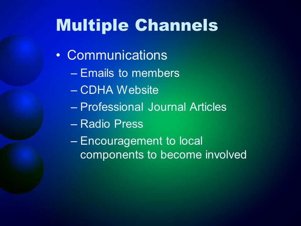 Multiple Channels Communications – s to members –CDHA Website –Professional Journal Articles –Radio Press –Encouragement to local components to become involved