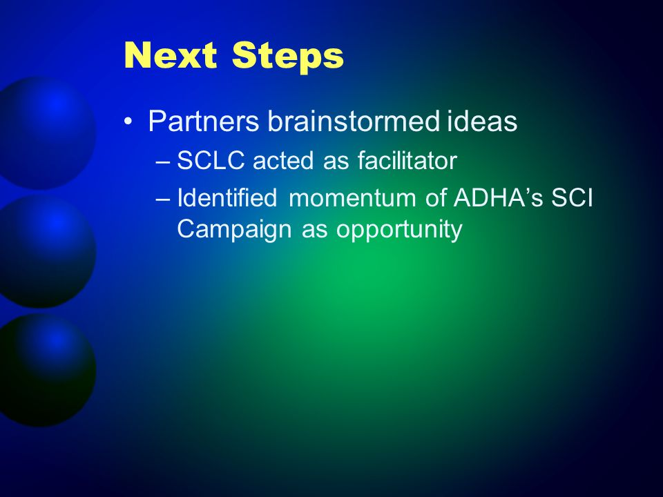 Next Steps Partners brainstormed ideas –SCLC acted as facilitator –Identified momentum of ADHAs SCI Campaign as opportunity