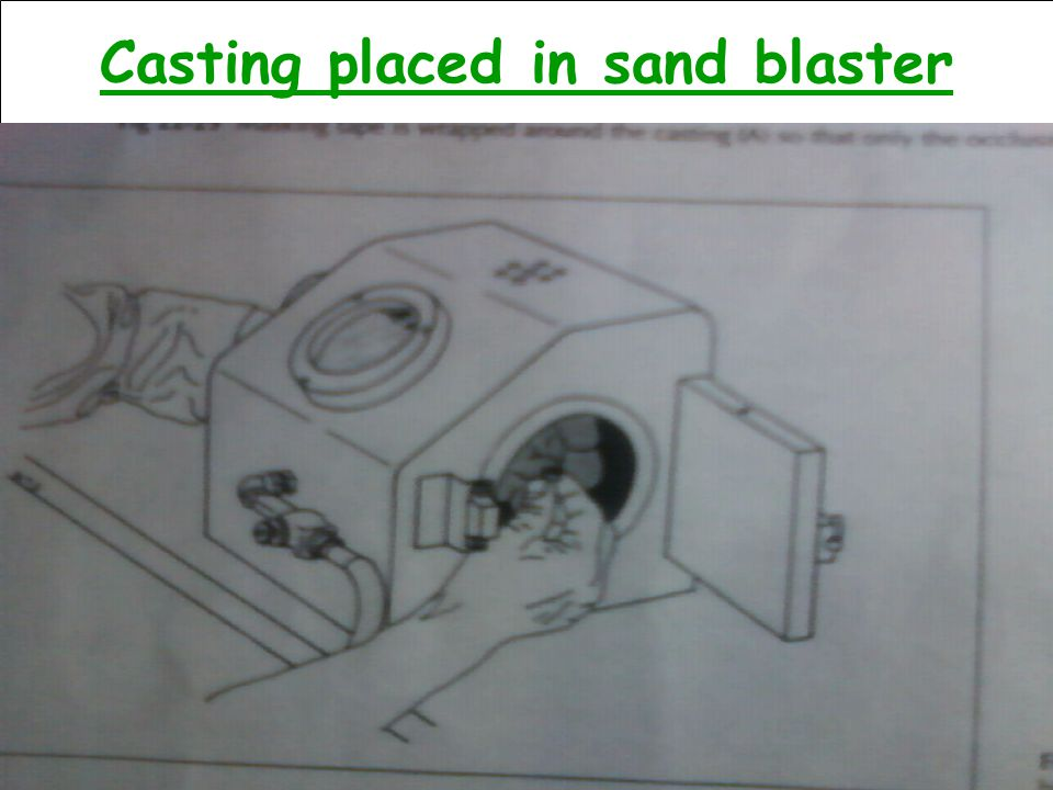 Casting placed in sand blaster