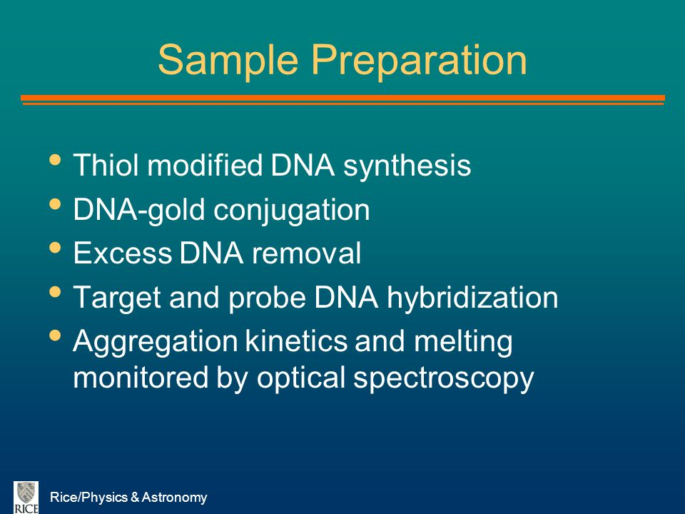 Rice/Physics & Astronomy Sample Preparation Thiol modified DNA synthesis DNA-gold conjugation Excess DNA removal Target and probe DNA hybridization Ag