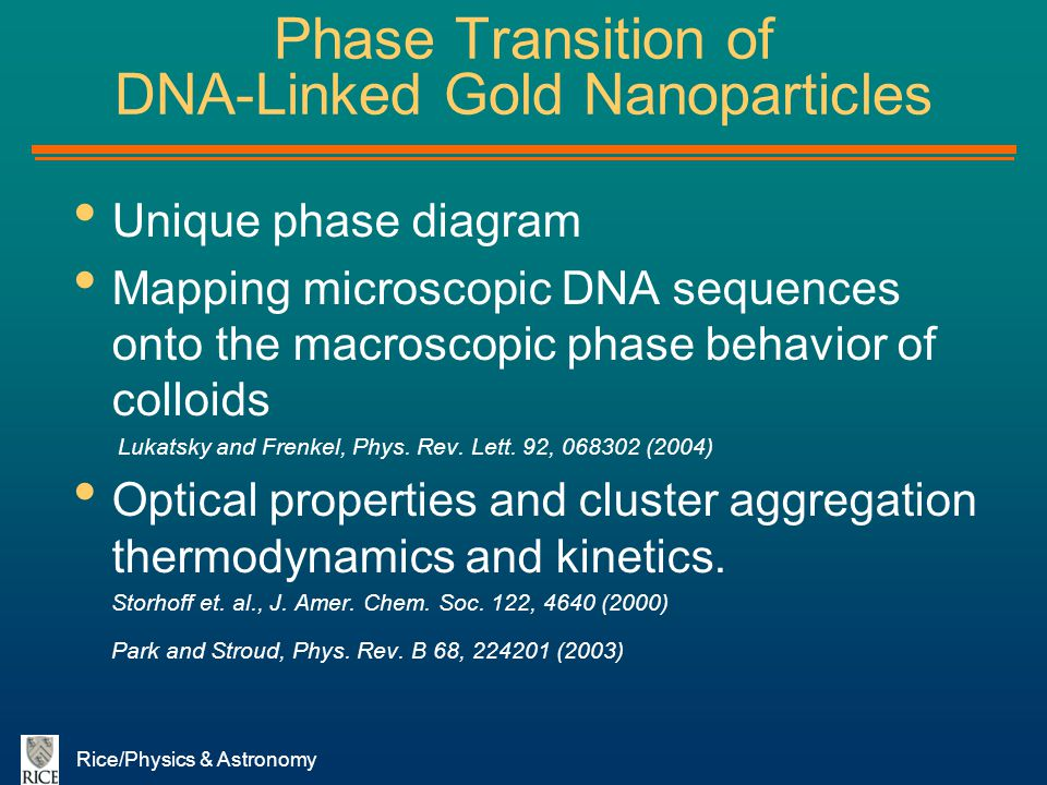 Rice/Physics & Astronomy Phase Transition of DNA-Linked Gold Nanoparticles Unique phase diagram Mapping microscopic DNA sequences onto the macroscopic