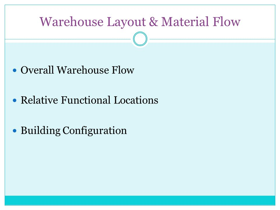 Warehouse Layout & Material Flow Overall Warehouse Flow Relative Functional Locations Building Configuration