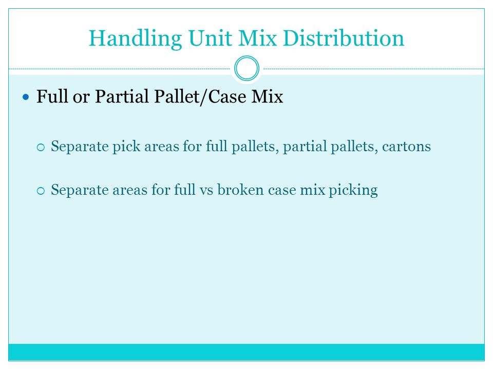 Handling Unit Mix Distribution Full or Partial Pallet/Case Mix Separate pick areas for full pallets, partial pallets, cartons Separate areas for full