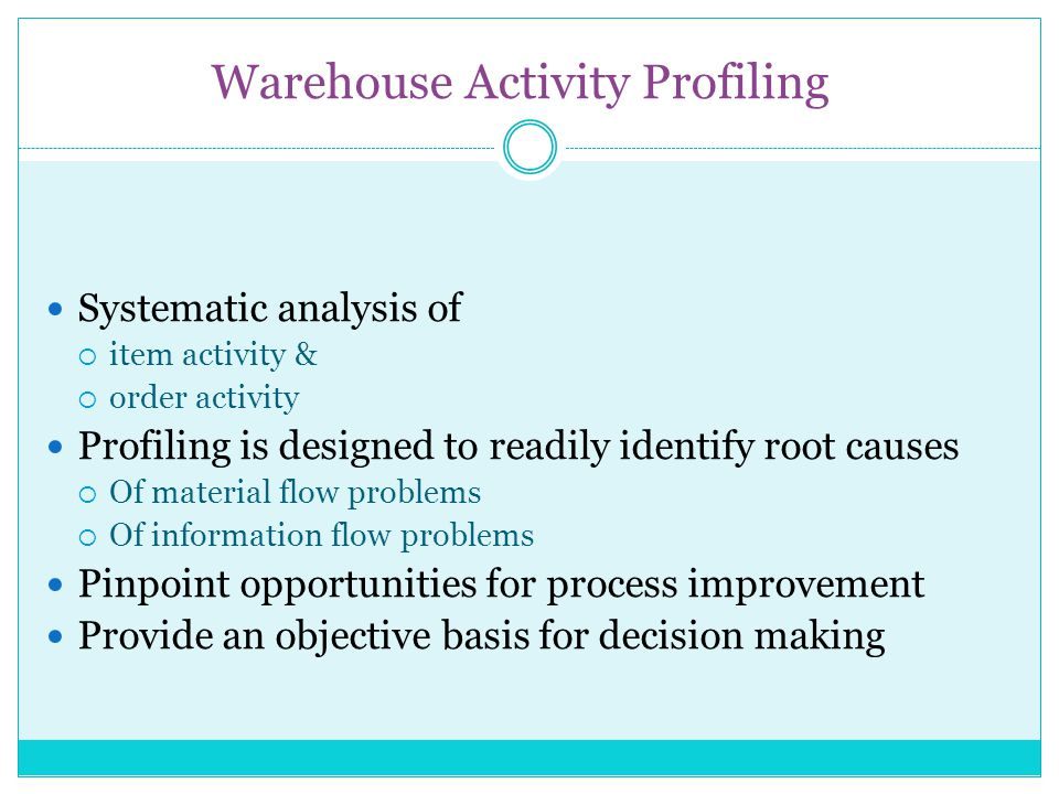 Advantages of Profiling Can Quickly Reveal: Design and Planning Opportunities Correct Baseline for Justifying New Investments People Feel a Sense of Involvement Picture is Worth a 1000 Words Capture the activities of the warehouse in pictorial form