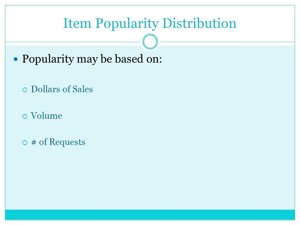 Item Popularity Distribution Popularity may be based on: Dollars of Sales Volume # of Requests