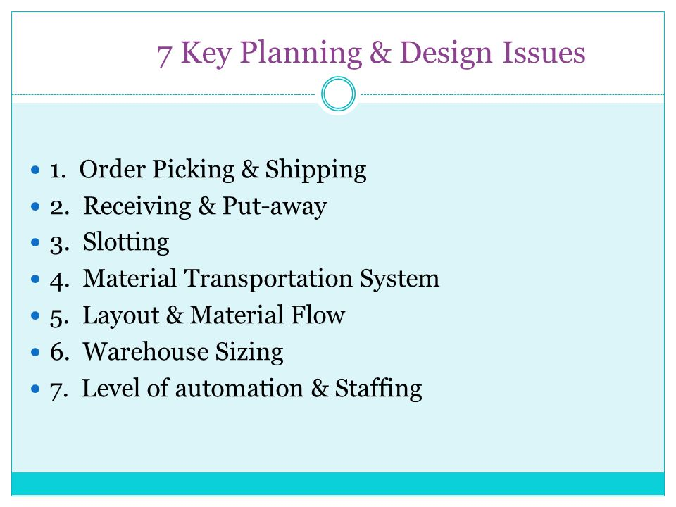 7 Key Planning & Design Issues 1. Order Picking & Shipping 2. Receiving & Put-away 3. Slotting 4. Material Transportation System 5. Layout & Material