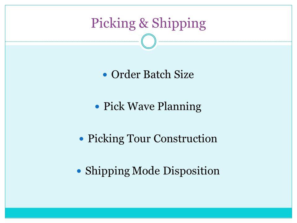 Receiving & Put-away Receiving Mode Disposition Put-away Batch Sizing Put-away Tour Construction