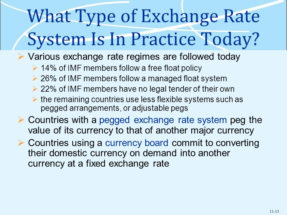 11-13 What Type of Exchange Rate System Is In Practice Today? Various exchange rate regimes are followed today 14% of IMF members follow a free float