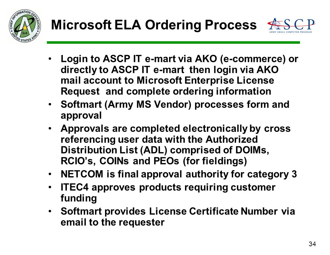 34 Microsoft ELA Ordering Process Login to ASCP IT e-mart via AKO (e-commerce) or directly to ASCP IT e-mart then login via AKO mail account to Micros