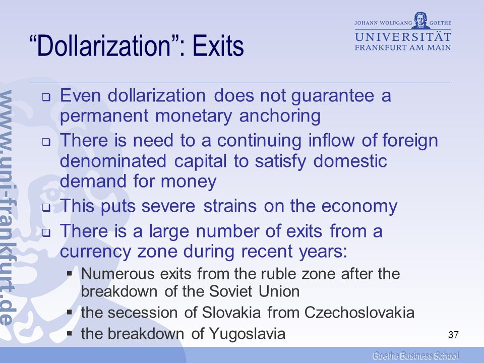 Goethe Business School 36 Dollarization: Examples of countries
