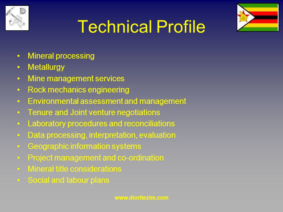 www.dioritezim.com Technical Profile Mineral processing Metallurgy Mine management services Rock mechanics engineering Environmental assessment and management Tenure and Joint venture negotiations Laboratory procedures and reconciliations Data processing, interpretation, evaluation Geographic information systems Project management and co-ordination Mineral title considerations Social and labour plans
