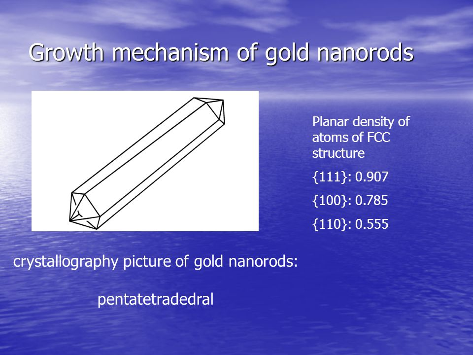 Growth mechanism of gold nanorods crystallography picture of gold nanorods: pentatetradedral Planar density of atoms of FCC structure {111}: 0.907 {10