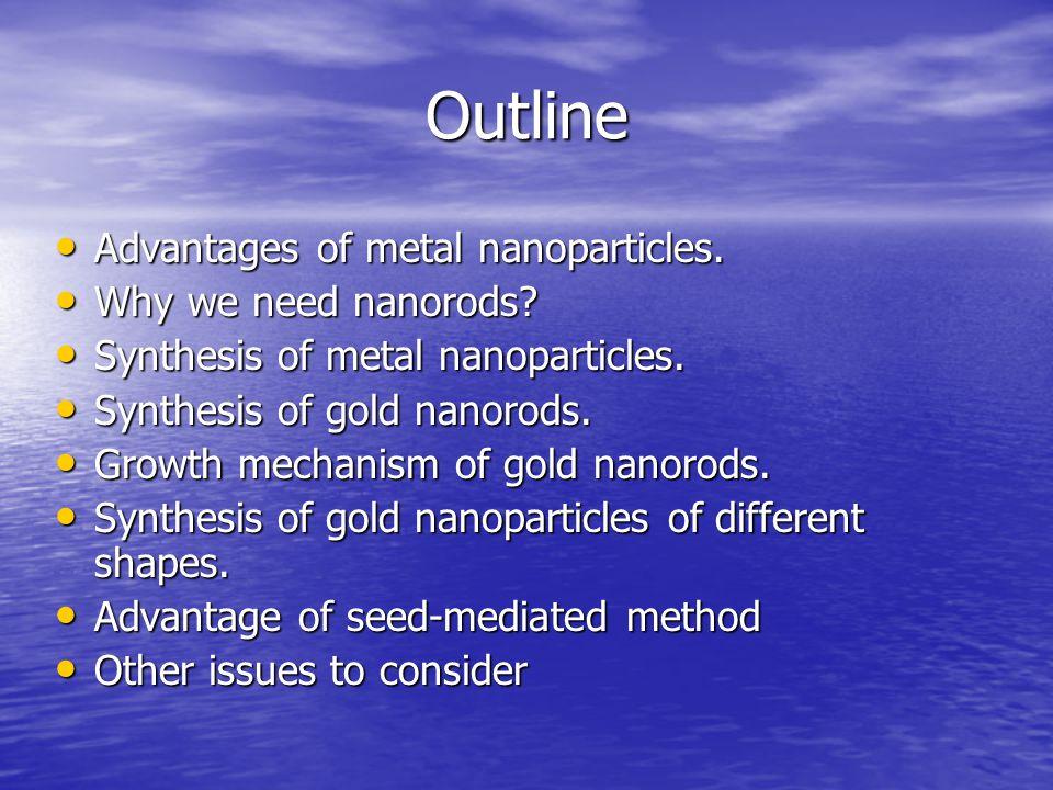 Outline Advantages of metal nanoparticles. Advantages of metal nanoparticles. Why we need nanorods? Why we need nanorods? Synthesis of metal nanoparti