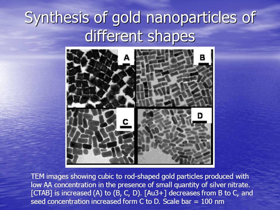 Synthesis of gold nanoparticles of different shapes TEM images showing cubic to rod-shaped gold particles produced with low AA concentration in the pr