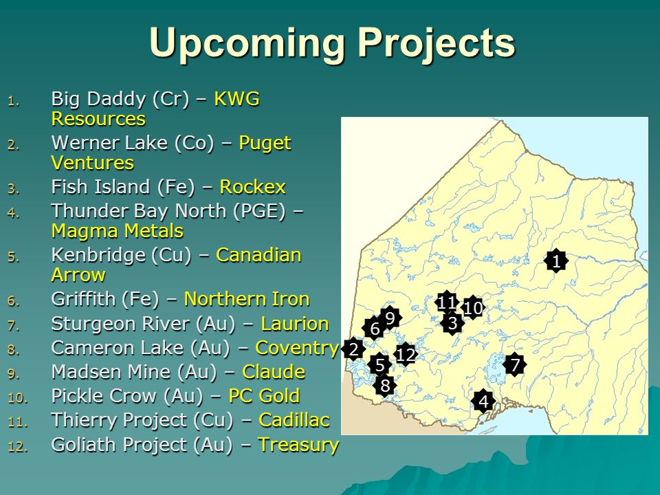 Upcoming Projects 1. Big Daddy (Cr) – KWG Resources 2.
