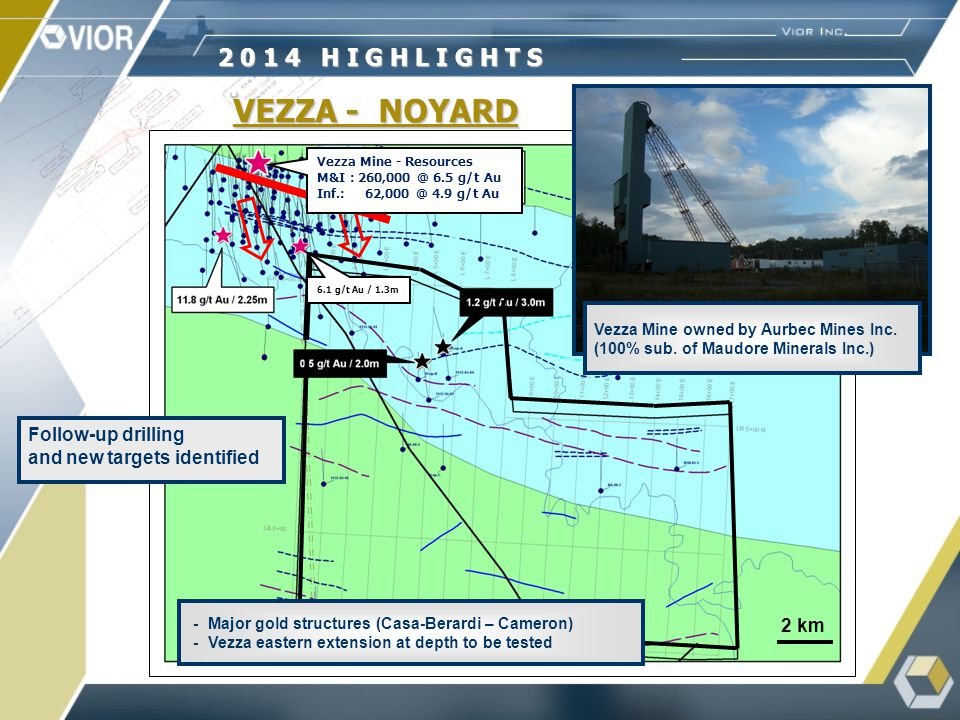 VEZZA - NOYARD 2 0 1 4 H I G H L I G H T S Vezza Mine owned by Aurbec Mines Inc.