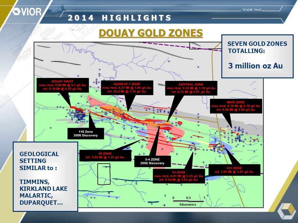 DOUAY GOLD ZONES DOUAY WEST 1.0 Mt @ 5.7 g/t Au ADAM PORPHYRY ZONE 7.1 Mt @ 1.1 g/t Au 92-7 PORPHYRY ZONE 531 ZONE 730,000 t. @ 4.9 g/t Au 92-7 PORPHY