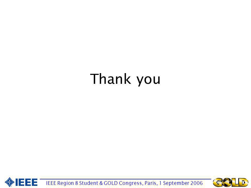 Thank you IEEE Region 8 Student & GOLD Congress, Paris, 1 September 2006