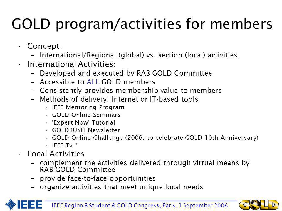 Identified weaknesses of GOLD at the RAB level No product or services that sufficiently attracts the majority of the recent graduates and young professional to continue their IEEE membership Poorly defined operations at the RAB GOLD Committee Lack of collaboration between GOLD and other IEEE entities 1.IEEE Mentoring Program (to be launched in July/Aug 06) 1.GOLD Online Seminars (3 times a year) 1. Expert Now Tutorial (by Carl Selinger, first sample available in Sept 06) 1.defined mission and vision statements 1.redefined GOLD s target audience 1.proposed a new committee structure Rework the GOLD Charter 1.GOLD/Societies Pilot project 1.invited GOLD reps from the major boards to be in the GOLD RAB Committee.