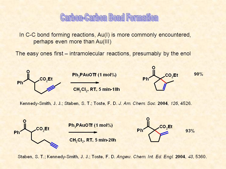 In C-C bond forming reactions, Au(I) is more commonly encountered, perhaps even more than Au(III) The easy ones first – intramolecular reactions, presumably by the enol