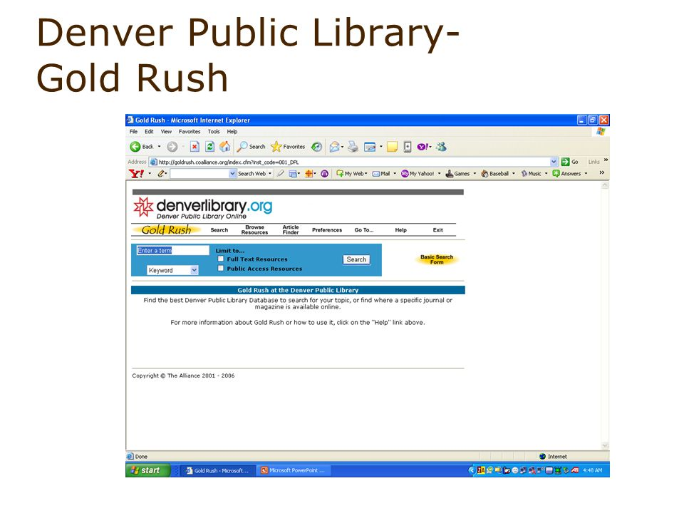 Denver Public Library- Gold Rush