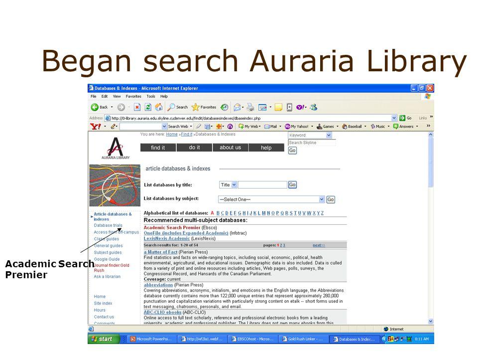 Began search Auraria Library Academic Search Premier