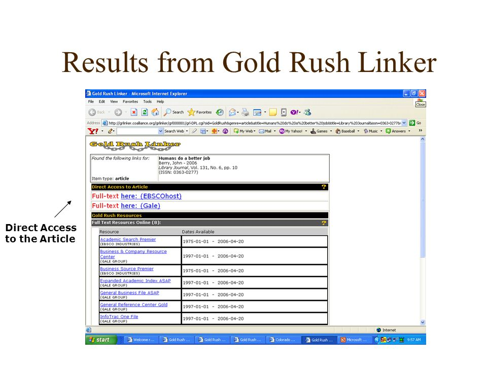 Results from Gold Rush Linker Direct Access to the Article