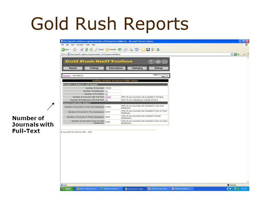 Gold Rush Reports Number of Journals with Full-Text