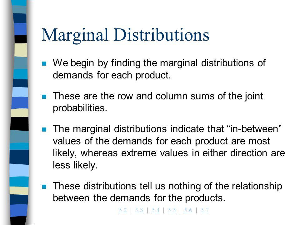 5.25.2   5.3   5.4   5.5   5.6   5.75.35.45.55.65.7 Marginal Distributions n We begin by finding the marginal distributions of demands for each product.