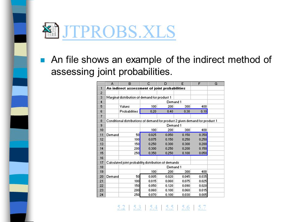 5.25.2   5.3   5.4   5.5   5.6   5.75.35.45.55.65.7 JTPROBS.XLS n An file shows an example of the indirect method of assessing joint probabilities.