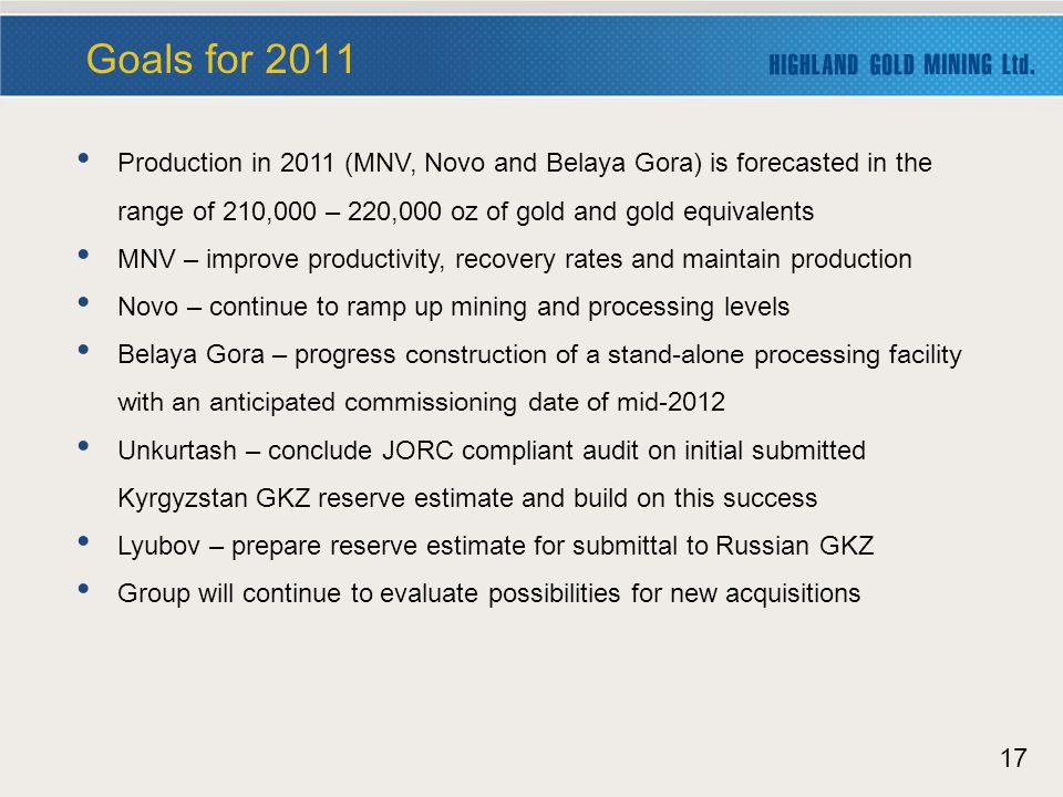 17 Production in 2011 (MNV, Novo and Belaya Gora) is forecasted in the range of 210,000 – 220,000 oz of gold and gold equivalents MNV – improve productivity, recovery rates and maintain production Novo – continue to ramp up mining and processing levels Belaya Gora – progress construction of a stand-alone processing facility with an anticipated commissioning date of mid-2012 Unkurtash – conclude JORC compliant audit on initial submitted Kyrgyzstan GKZ reserve estimate and build on this success Lyubov – prepare reserve estimate for submittal to Russian GKZ Group will continue to evaluate possibilities for new acquisitions Goals for 2011