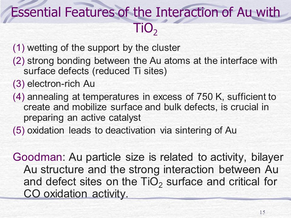 15 Essential Features of the Interaction of Au with TiO 2 (1) wetting of the support by the cluster (2) strong bonding between the Au atoms at the int