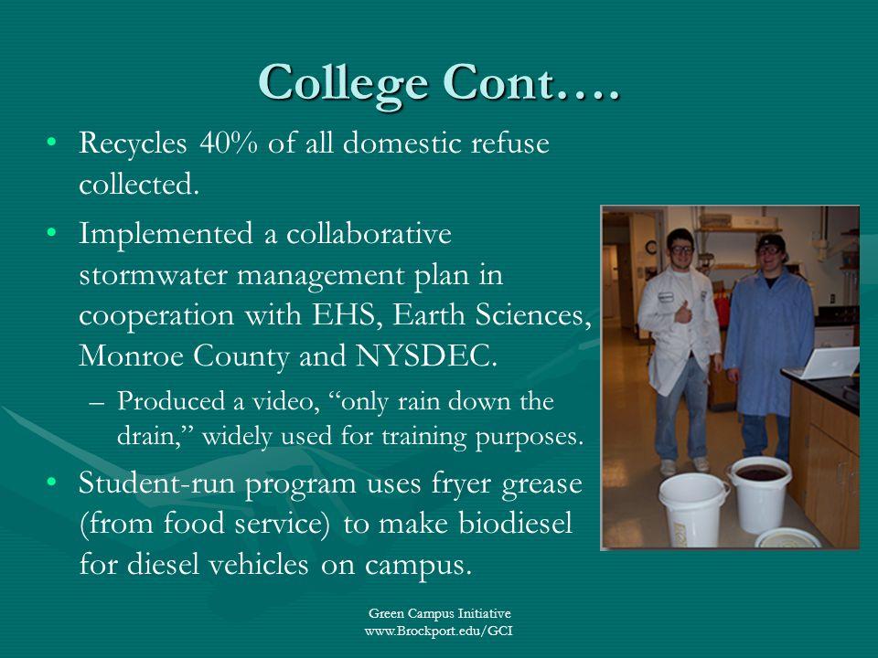 Green Campus Initiative www.Brockport.edu/GCI College Cont….
